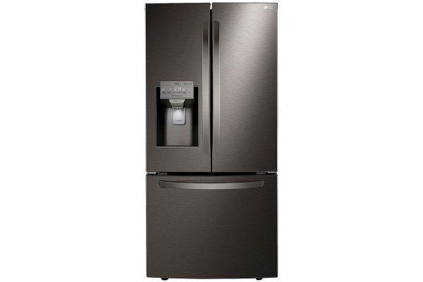 Large image of LG 25 Cu. Ft. PrintProof Black Stainless Steel Smart Wi-Fi Enabled French Door Refrigerator - LRFXS2503D