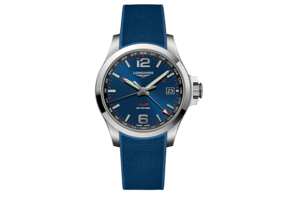 Large image of Longines Conquest V.H.P. GMT Stainless Steel Case And Blue Dial Mens Watch - L37184969