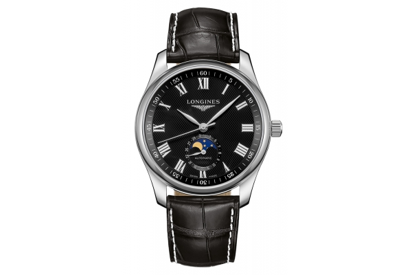 Large image of Longines Master Collection Stainless Steel Case And Black Dial Mens Watch - L29094517
