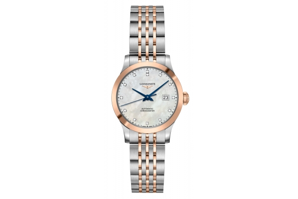Large image of Longines Record Collection Two-Toned Stainless Steel And Rose Gold With White MOP Dial Womens Watch - L23215877