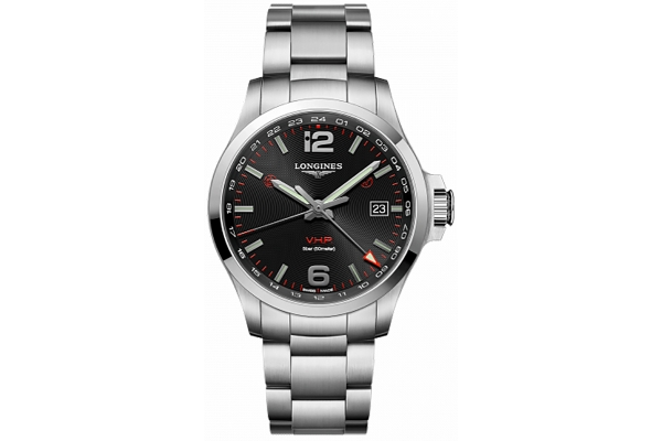Large image of Longines Conquest V.H.P. GMT Black Carved Dial Stainless Steel Watch, 43mm - L37284566