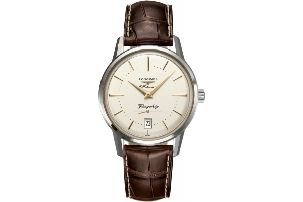 Large image of Longines Flagship Heritage Stainless Steel Case And Silver Dial Mens Watch - L47954782
