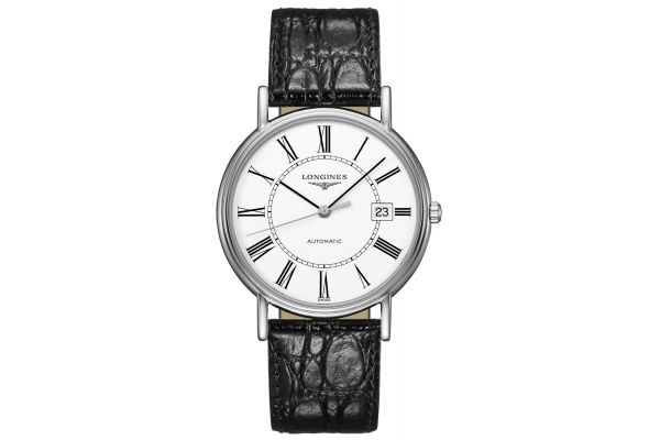 Large image of Longines Presence Stainless Steel Case And White Dial Mens Watch - L49214112