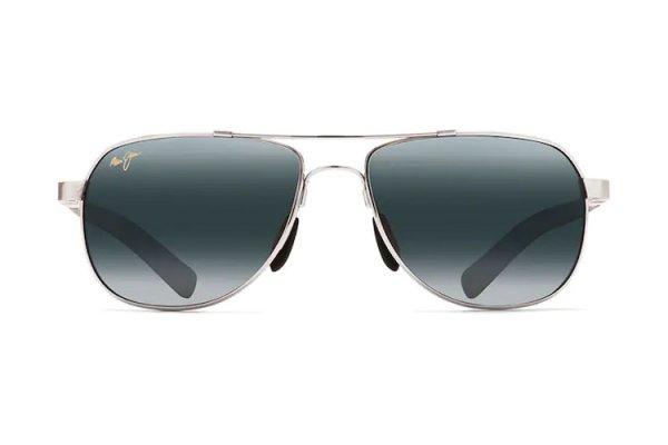 Large image of Maui Jim Guardrails Silver Aviator Unisex Sunglasses - 327-17