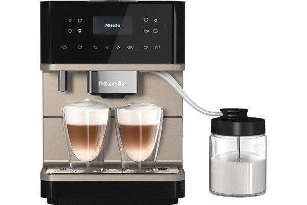 Large image of Miele CM 6360 MilkPerfection Obsidian Black/Clean Steel Metallic Countertop Coffee Machine - 11648200