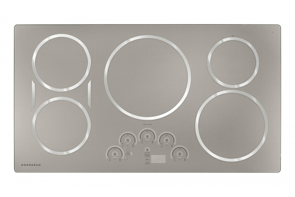 """Large image of Monogram 36"""" Silver Induction Cooktop - ZHU36RSPSS"""