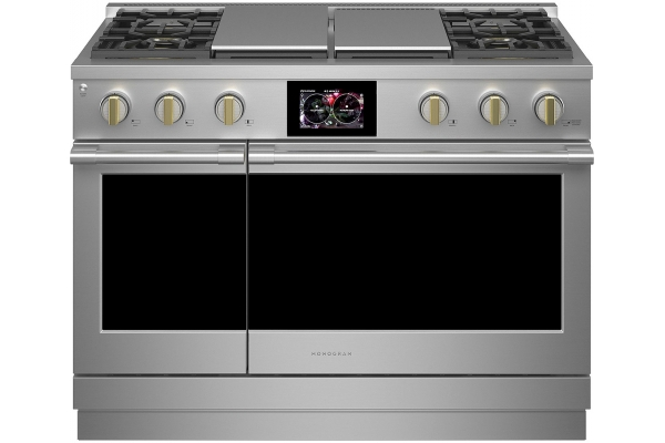 "Large image of Monogram 48"" Stainless Steel Dual-Fuel Professional Range With 4 Burners, Grill, And Griddle (Natural Gas) - ZDP484NGTSS"