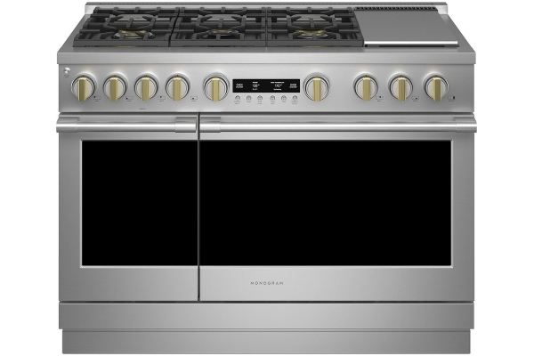 """Large image of Monogram 48"""" Stainless Steel Dual-Fuel Professional Range With 6 Burners And Griddle (Natural Gas) - ZDP486NDTSS"""