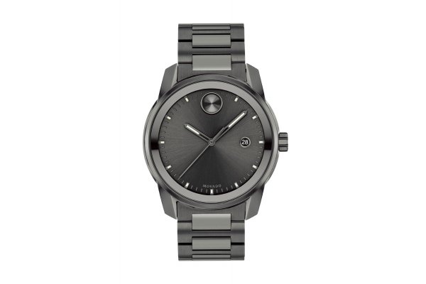 Large image of Movado BOLD Verso Grey Dial Watch, Gunmetal Ionic Plated Bracelet, 42mm - 3600736