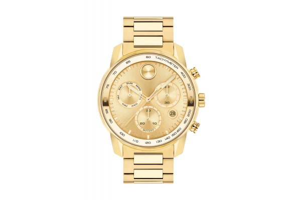 Large image of Movado BOLD Verso Quartz Chronograph, Yellow Gold Ionic Plated Bracelet Watch, 44mm - 3600741