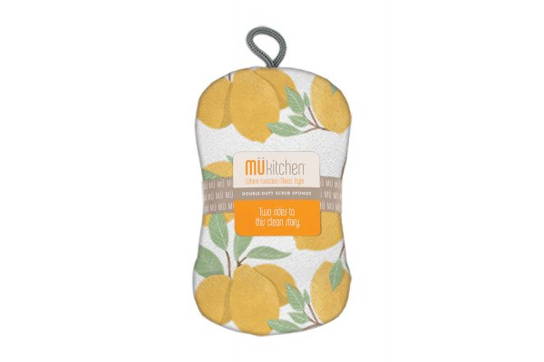 Large image of MUkitchen Lemon Tree Yellow Scrub Sponge - 66082138