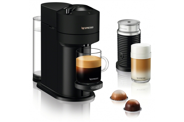 Large image of Nespresso Vertuo Next Matte Black Coffee & Espresso Machine with Aeroccino Milk Frother - ENV120BMAE
