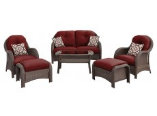Hanover - NEWPORT6PC-RED - Patio Seating Sets