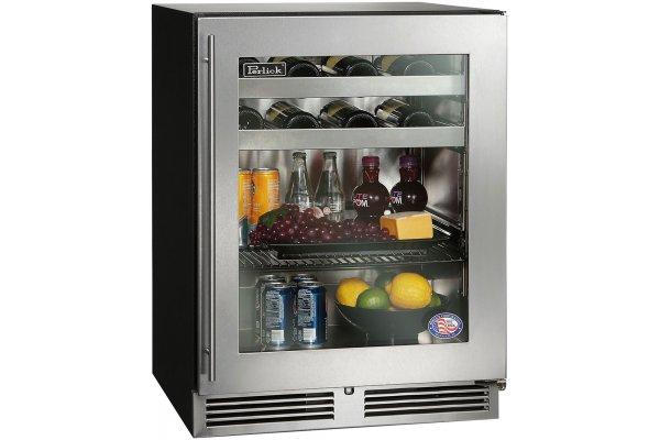 """Large image of Perlick ADA Compliant 24"""" Stainless Frame Left-Hinge Indoor Beverage Center - HA24BB-4-3L"""