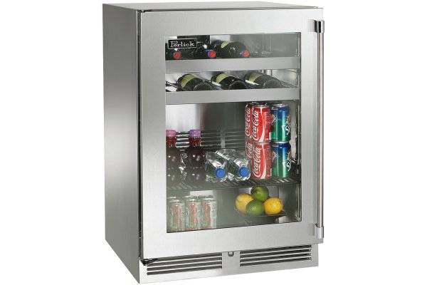 """Large image of Perlick Signature Series 24"""" Stainless Steel Left-Hinge Indoor Beverage Center - HP24BS-4-3L"""