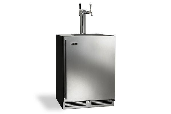 "Large image of Perlick C-Series 24"" Custom Panel Right-Hinge Double Faucet Indoor Beverage Dispenser - HC24TB-4-2R2"