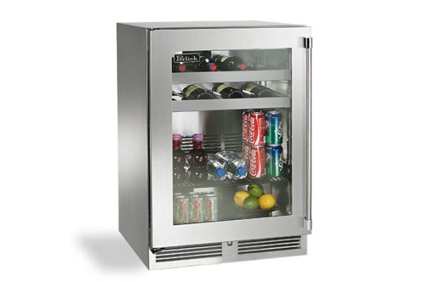 """Large image of Perlick Signature Series 24"""" Stainless Steel Left-Hinge Outdoor Beverage Center - HP24BO-4-1L"""