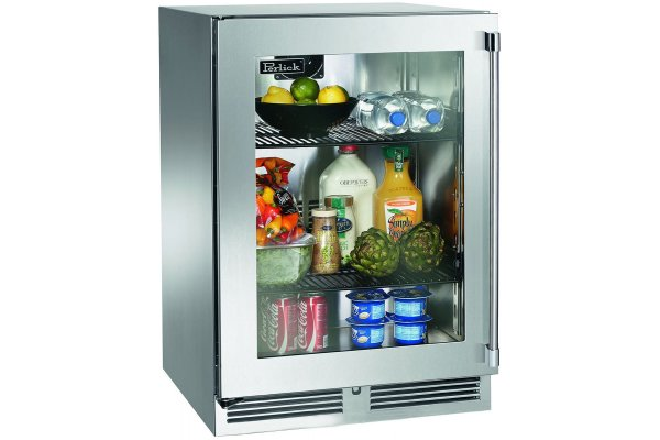 """Large image of Perlick Signature Series 24"""" Stainless Frame Left-Hinge Outdoor Refrigerator - HP24RO-4-3L"""