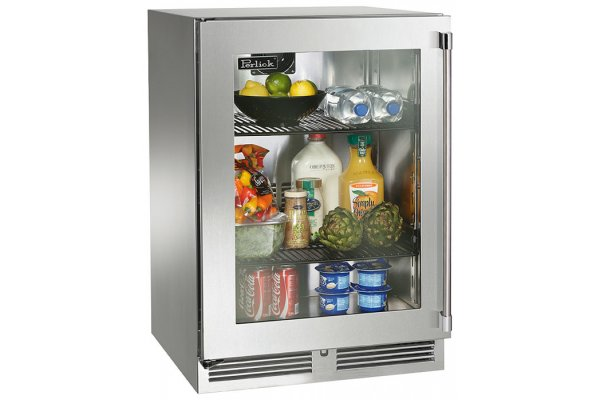 """Large image of Perlick Signature Series 24"""" Stainless Frame Right-Hinge Indoor Refrigerator - HP24RS-4-3R"""
