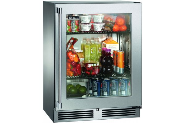 """Large image of Perlick Signature Series 24"""" Stainless Frame Right-Hinge Indoor Refrigerator - HH24RS-4-3R"""