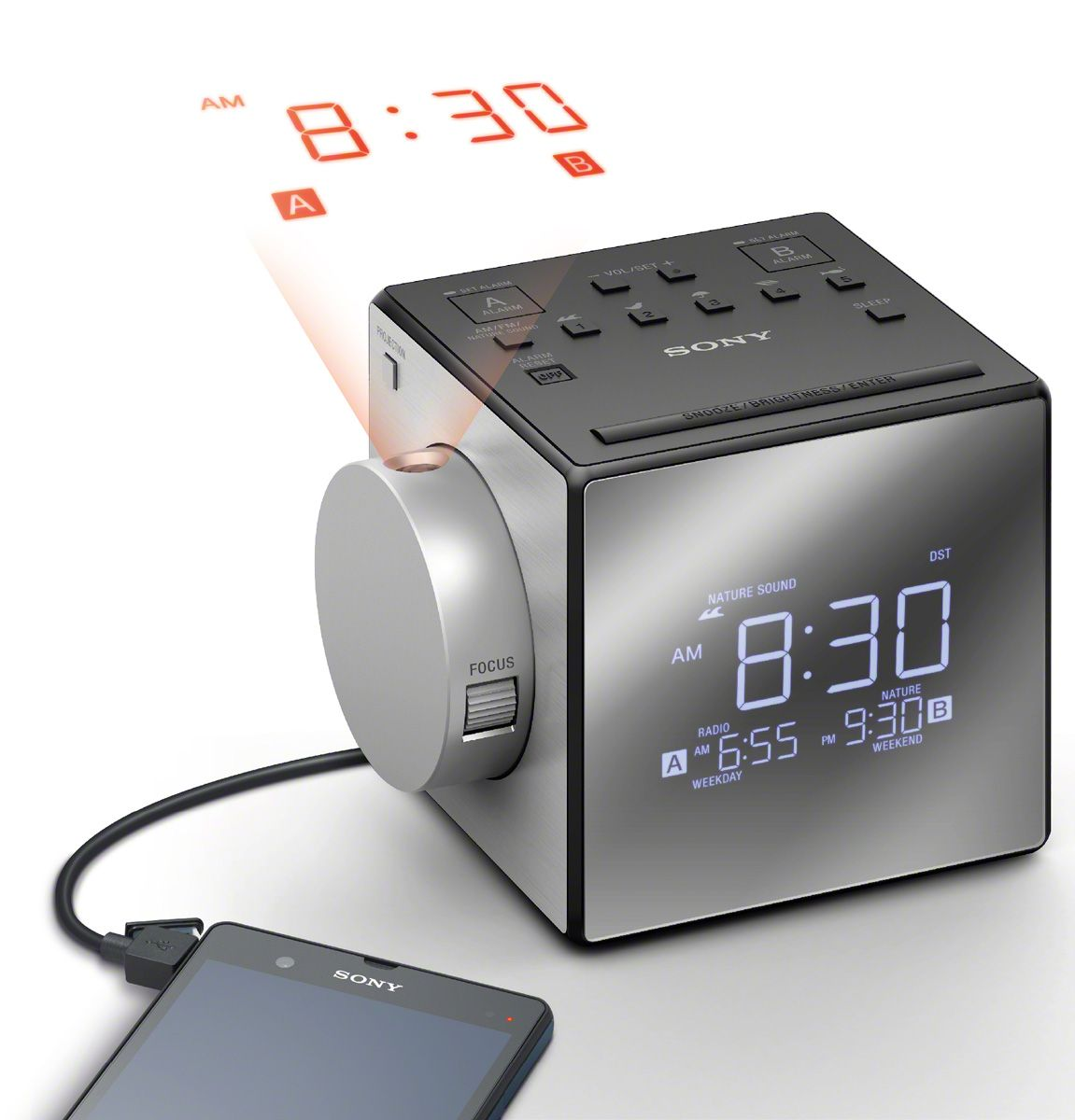 Sony nature sounds projection clock radio icf c1pj main image alternate image projection amipublicfo Images