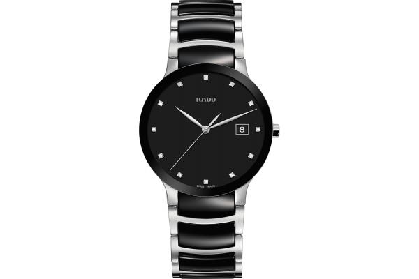 Large image of Rado Centrix Diamonds Black Dial Stainless Steel Watch, 38mm - R30934752