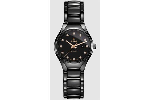 Large image of Rado True Automatic Diamonds Black Dial Ceramic Watch, 30mm - R27242732
