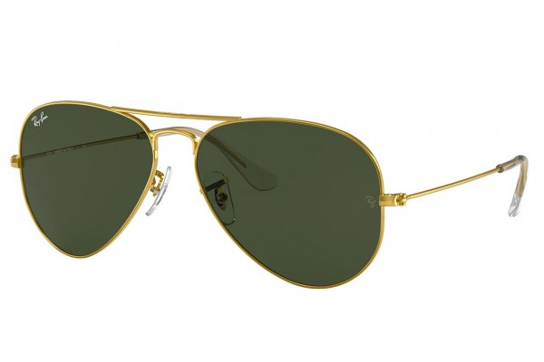 Large image of Ray-Ban RB3025 Icons Large Aviator Gold Unisex Sunglasses - RB3025 W3234 55-14