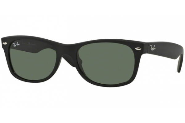 Large image of Ray-Ban New Wayfarer Classic Rubber Black Unisex Sunglasses - RB2132 622 58-18