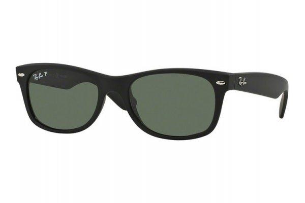 Large image of Ray-Ban New Wayfarer Polarized Black Unisex Sunglasses - RB2132 622/58 55