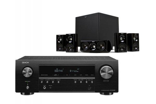 Large image of Denon Black 5.2 Ch. 4K Ultra HD AV Receiver with Klipsch Speaker System - DENOKLIPHT