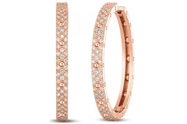 Large image of Roberto Coin 18K Rose Gold & Diamond Symphony Pois Moi Hoop Earrings - 7772100AXERX
