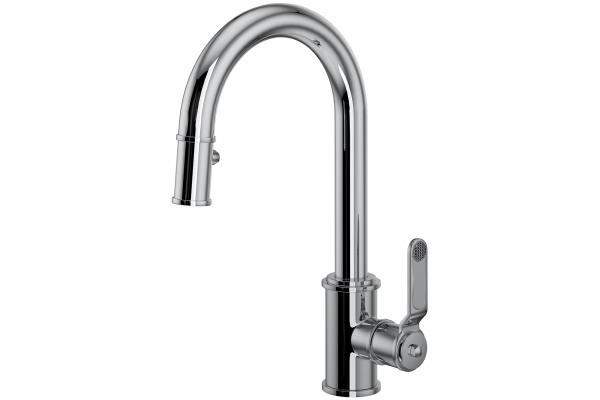 Large image of Rohl Perrin & Rowe Armstrong Polished Chrome Pulldown Kitchen Faucet With Lever Handle - U.4544HT-APC-2
