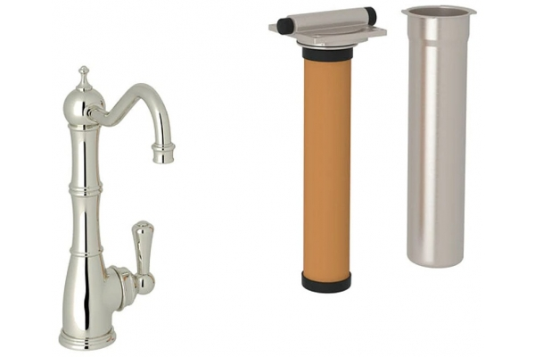 Large image of Rohl Perrin & Rowe Edwardian Column Polished Nickel Spout Filter Faucet With Lever Handle - U.KIT1621L-PN-2