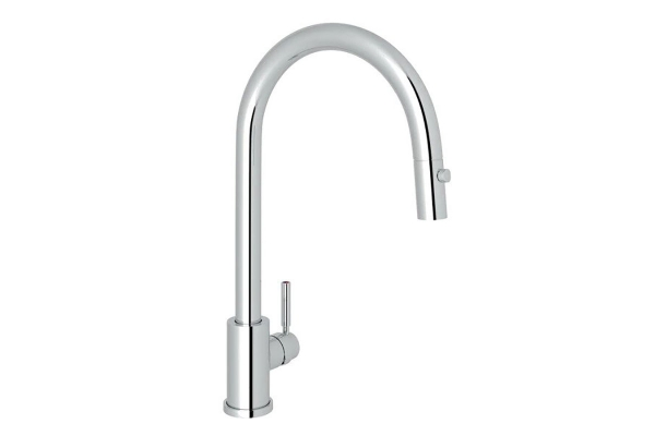 Large image of Rohl Perrin & Rowe Holborn Polished Chrome C-Spout Pull-Down Faucet - U.4044APC-2