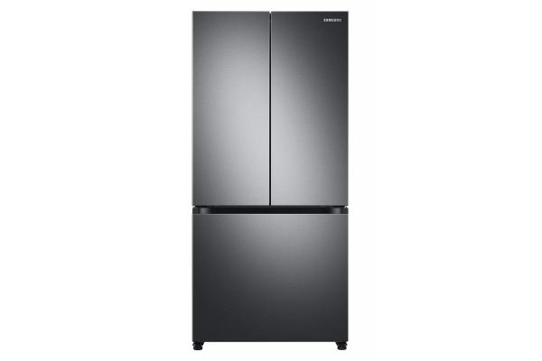 Large image of Samsung 19.5 Cu. Ft. Fingerprint Resistant Black Stainless Steel 3-Door French Door Smart Refrigerator - RF20A5101SG
