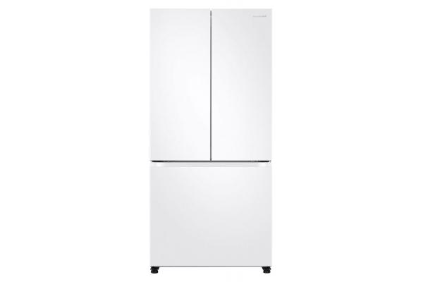 Large image of Samsung 19.5 Cu. Ft. Fingerprint Resistant White 3-Door French Door Smart Refrigerator - RF20A5101WW/AA