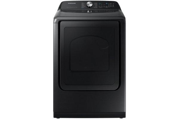 Large image of Samsung 7.4 Cu. Ft. Brushed Black Smart Electric Dryer With Steam Sanitize+ - DVE52A5500V/A3
