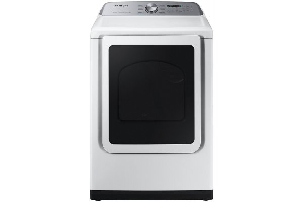 Large image of Samsung 7.4 Cu. Ft. White Smart Electric Dryer With Steam Sanitize+ - DVE52A5500W/A3