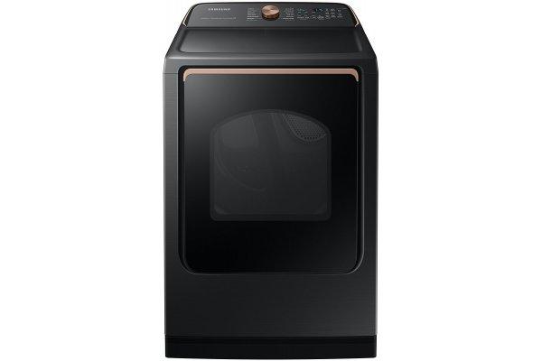 Large image of Samsung 7.4 Cu. Ft. Brushed Black Smart Gas Dryer With Steam Sanitize+ - DVG55A7700V/A3