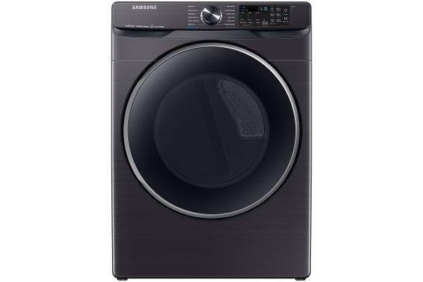 Large image of Samsung 7.5 Cu. Ft. Brushed Black Smart Electric Dryer With Steam Sanitize+ - DVE50A8500V/A3