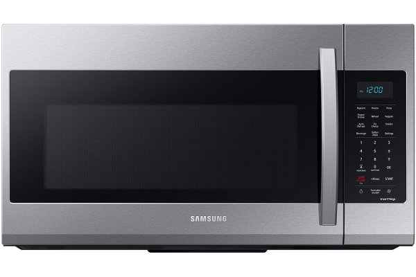 Large image of Samsung 1.9 Cu. Ft. Fingerprint Resistant Stainless Steel Smart Over-The-Range Microwave With Wi-Fi And Sensor Cook - ME19A7041WS/AA