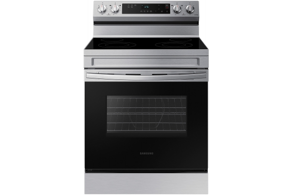 Large image of Samsung 6.3 Cu. Ft. Stainless Steel Smart Freestanding Electric Range With Steam Clean - NE63A6111SS/AA