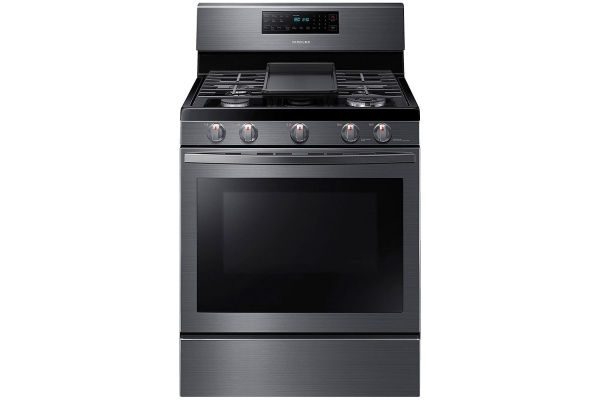 Large image of Samsung 5.8 Cu. Ft. Fingerprint Resistant Black Stainless Steel Freestanding Gas Range With Air Fry & Convection - NX58T7511SG/AA