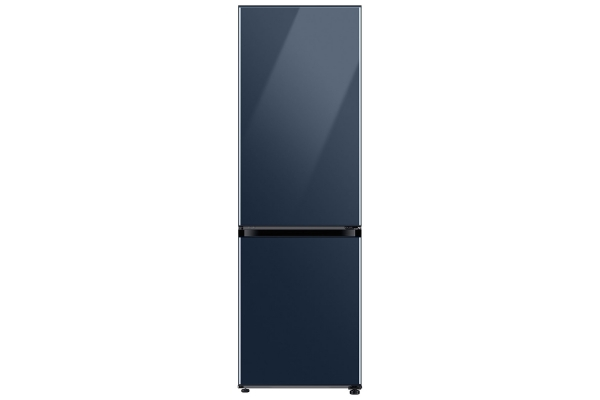 Large image of Samsung 12 Cu. Ft. BESPOKE Navy Glass Bottom Freezer Refrigerator With Customizable Colors & Flexible Design - RB12A300641/AA