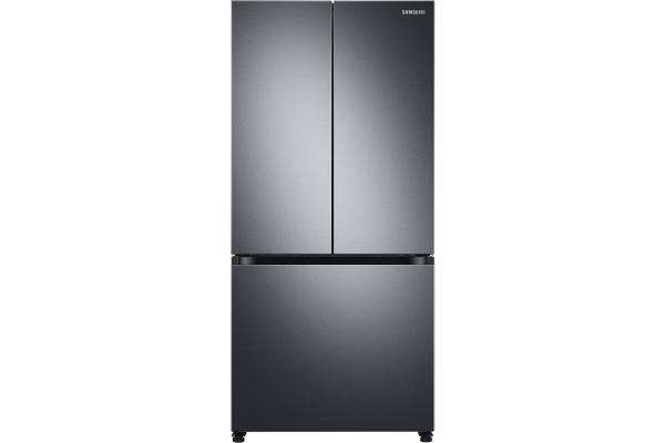 Large image of Samsung 18 Cu. Ft. Fingerprint Resistant Black Stainless Steel Smart Counter Depth 3-Door French Door Refrigerator - RF18A5101SG/AA