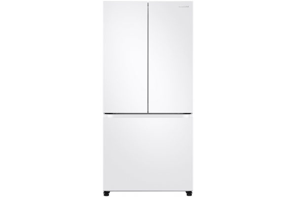 Large image of Samsung 18 Cu. Ft. Fingerprint Resistant White Smart Counter Depth 3-Door French Door Refrigerator - RF18A5101WW/AA