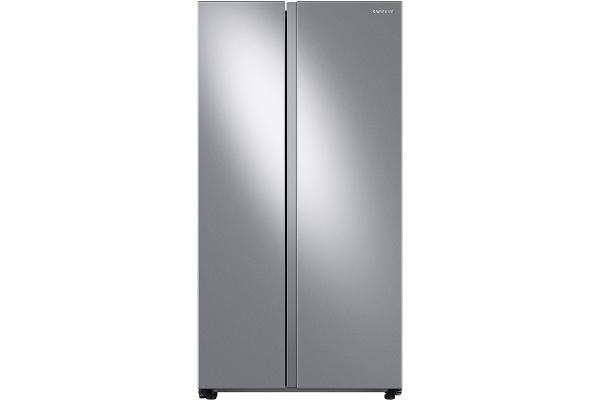 Large image of Samsung 22.6 Cu. Ft. Fingerprint Resistant Stainless Steel Smart Counter Depth Side-By-Side Refrigerator - RS23A500ASR/AA