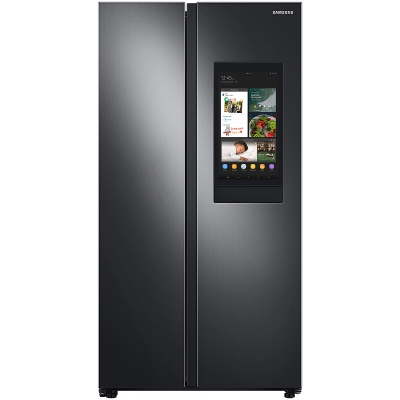 Samsung 27.3 Cu. Ft. Fingerprint Resistant Black Stainless Steel Smart Side-By-Side Refrigerator With Family Hub