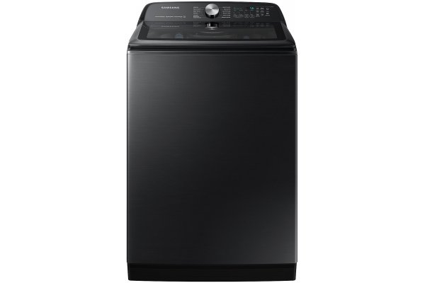 Large image of Samsung 5.1 Cu. Ft. Brushed Black Smart Top Load Washer With ActiveWave Agitator And Super Speed Wash - WA51A5505AV/US
